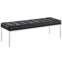 VEROS LEATHER BENCH IN BLACK