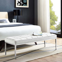 VEROS LEATHER BENCH IN WHITE