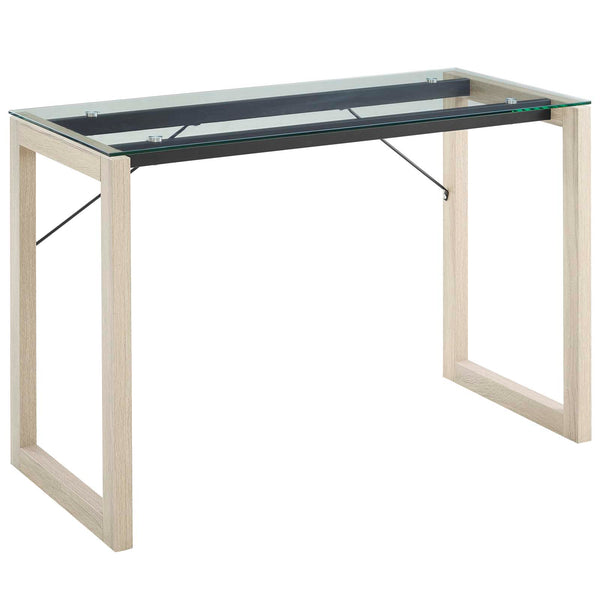 SIMPL GLASS TOP WRITING DESK IN NATURAL CLEAR