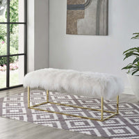 ELARA WHITE SHEEPSKIN BENCH IN GOLD