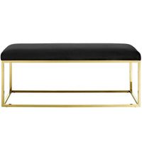 ELARA FABRIC BENCH IN GOLD BLACK