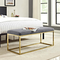 ELARA FABRIC BENCH IN GOLD GRAY