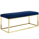 ELARA FABRIC BENCH IN GOLD NAVY