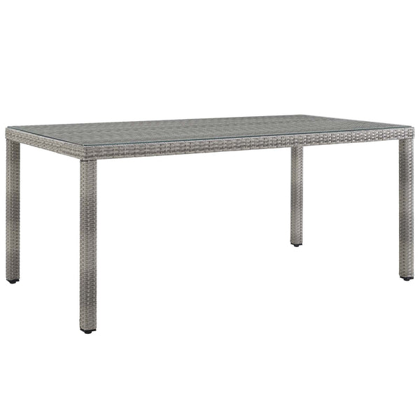 "GREYSON 68"" WICKER RATTAN DINING TABLE IN GRAY"