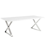 VEXO DINING TABLE IN WHITE SILVER