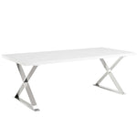 XEUS DINING TABLE IN WHITE SILVER
