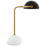 NOVEL BRONZE AND WHITE MARBLE TABLE LAMP IN
