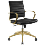 VALLIX GOLD STAINLESS STEEL MIDBACK OFFICE CHAIR IN GOLD BLACK