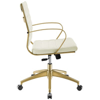 VALLIX GOLD STAINLESS STEEL MIDBACK OFFICE CHAIR IN GOLD WHITE