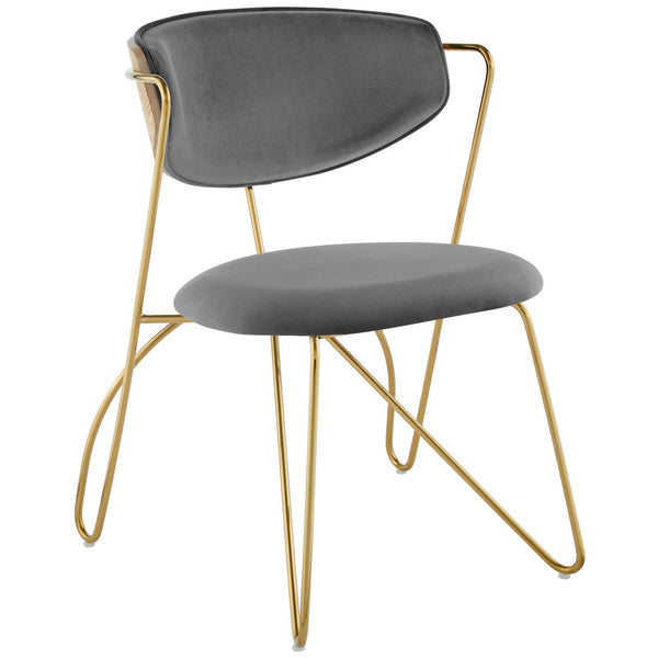 PERTH GOLD STAINLESS STEEL DINING AND ACCENT PERFORMANCE VELVET CHAIR IN GOLD GRAY