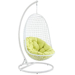 BREEZY SWING OUTDOOR PATIO FABRIC LOUNGE CHAIR IN WHITE