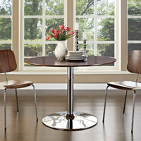NERO ROUND WOOD TOP DINING TABLE IN WALNUT