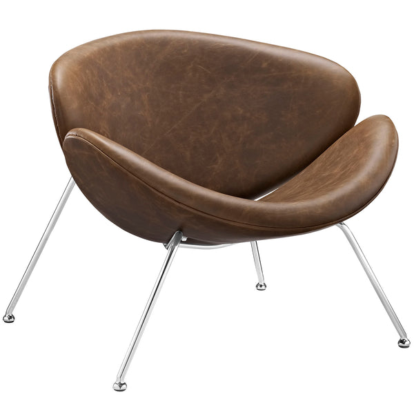 KLM UPHOLSTERED VINYL LOUNGE CHAIR IN BROWN