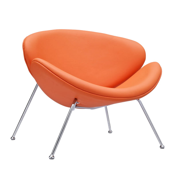 KLM UPHOLSTERED VINYL LOUNGE CHAIR IN ORANGE