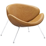 KLM UPHOLSTERED VINYL LOUNGE CHAIR IN TAN