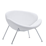 KLM UPHOLSTERED VINYL LOUNGE CHAIR IN WHITE