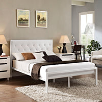 AYVA FULL VINYL BED IN WHITE