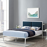 BLANCO KING FABRIC BED IN WHITE AZURE