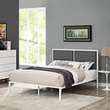 BLANCO KING FABRIC BED IN WHITE GRAY