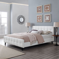 MELO QUEEN VINYL BED IN WHITE