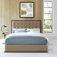 RENDITION QUEEN UPHOLSTERED FABRIC BED FRAME IN CAPPUCCINO CAFE