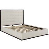 RENDITION QUEEN UPHOLSTERED FABRIC BED FRAME IN CAPPUCCINO IVORY