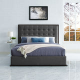 RENDITION QUEEN UPHOLSTERED FABRIC BED FRAME IN CAPPUCCINO SMOKE
