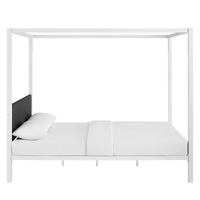 PRIZM QUEEN CANOPY BED FRAME IN WHITE GRAY