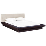 MOVA QUEEN FABRIC PLATFORM BED IN CAPPUCCINO BEIGE