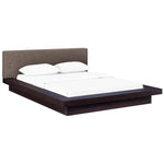 MOVA QUEEN FABRIC PLATFORM BED IN CAPPUCCINO BROWN
