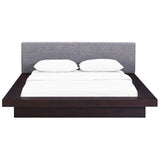MOVA QUEEN FABRIC PLATFORM BED IN CAPPUCCINO GRAY