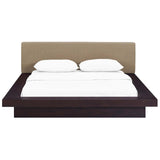 MOVA QUEEN FABRIC PLATFORM BED IN CAPPUCCINO LATTE