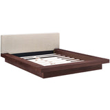 MOVA QUEEN FABRIC PLATFORM BED IN WALNUT BEIGE