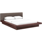 MOVA QUEEN FABRIC PLATFORM BED IN WALNUT BROWN