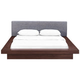 MOVA QUEEN FABRIC PLATFORM BED IN WALNUT GRAY
