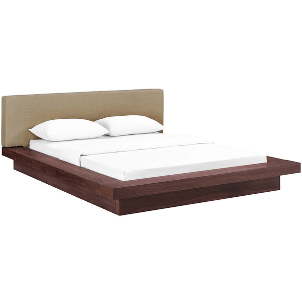 MOVA QUEEN FABRIC PLATFORM BED IN WALNUT LATTE
