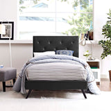 RORKE TWIN VINYL PLATFORM BED WITH ROUND SPLAYED LEGS IN BLACK