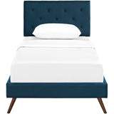 RORKE TWIN FABRIC PLATFORM BED WITH ROUND SPLAYED LEGS IN AZURE