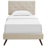 RORKE TWIN FABRIC PLATFORM BED WITH ROUND SPLAYED LEGS IN BEIGE