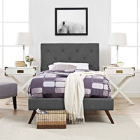RORKE TWIN FABRIC PLATFORM BED WITH ROUND SPLAYED LEGS IN GRAY
