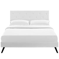 RORKE FULL VINYL PLATFORM BED WITH ROUND SPLAYED LEGS IN WHITE