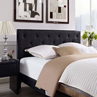 RORKE QUEEN VINYL PLATFORM BED WITH ROUND SPLAYED LEGS IN BLACK
