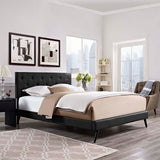 RORKE KING VINYL PLATFORM BED WITH ROUND SPLAYED LEGS IN BLACK