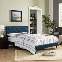 RORKE KING FABRIC PLATFORM BED WITH ROUND SPLAYED LEGS IN AZURE