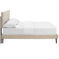 RORKE KING FABRIC PLATFORM BED WITH ROUND SPLAYED LEGS IN BEIGE