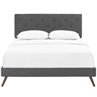 RORKE KING FABRIC PLATFORM BED WITH ROUND SPLAYED LEGS IN GRAY