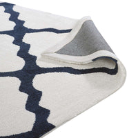 FOCUS MOROCCAN TRELLIS 5X8 AREA RUG IN IVORY AND NAVY