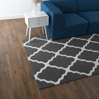FOCUS MOROCCAN TRELLIS 5X8 AREA RUG IN CHARCOAL AND IVORY