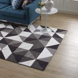 METRON GEOMETRIC TRIANGLE MOSAIC 8X10 AREA RUG IN BLACK, GRAY AND WHITE