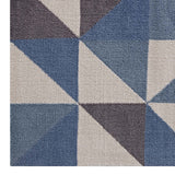 METRON GEOMETRIC TRIANGLE MOSAIC 8X10 AREA RUG IN BLUE, WHITE AND GRAY